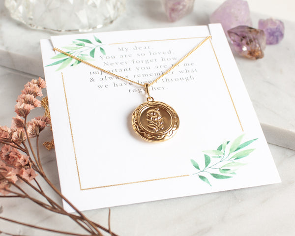 Small Flower Locket Necklace