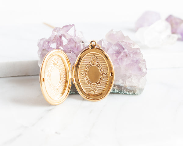 Engraved Oval Locket Necklace