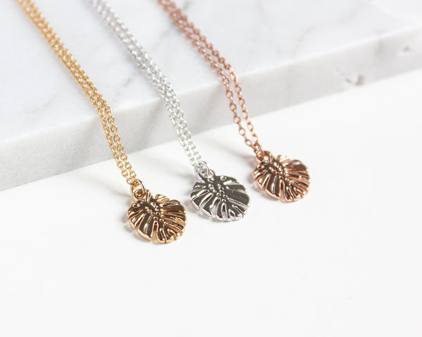 Tiny Monstera Leaf Necklace