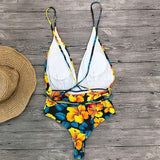 Multi-Flower Printed One Pieces Bikini