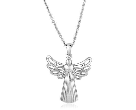 Sterling Silver Textured Angel Pendant