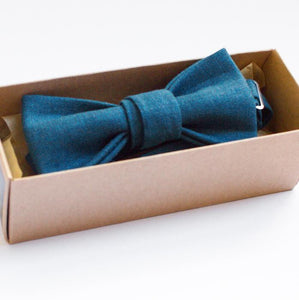 pre-tied blue bow tie handmade linen gift for him