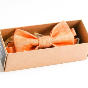 handmade orange apricot linen bow tie pre-tied gift for him