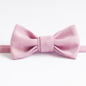 birthday gift for him pink bow tie linen handmade
