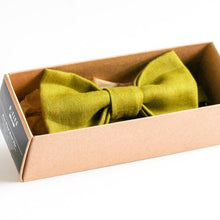 olive linen handmade bow tie gift for dad husband