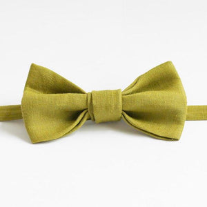 handmade olive linen bow tie made in melbourne