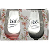 Bride and Groom Themed stemless wine glasses with tinted bottoms