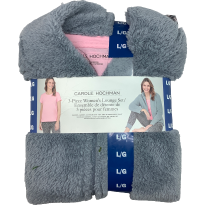 Carole Hochman Women's Lounge Set: 3 Piece Set: Grey and Pink
