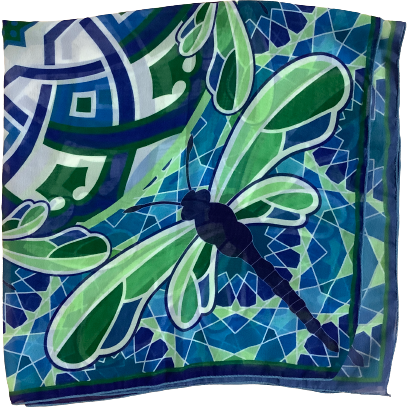 Gift Craft Women's Square Scarf: Blue and Green: Dragonfly