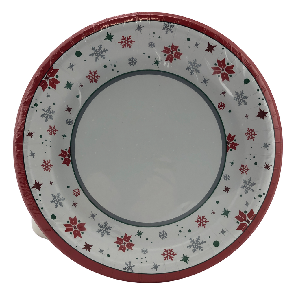 Concept Mode Christmas themed Paper Plates in a pack of 75. 10 inch Diameter with a raised edge