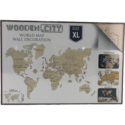 Wooden City World Map Wall Decoration: Size XL