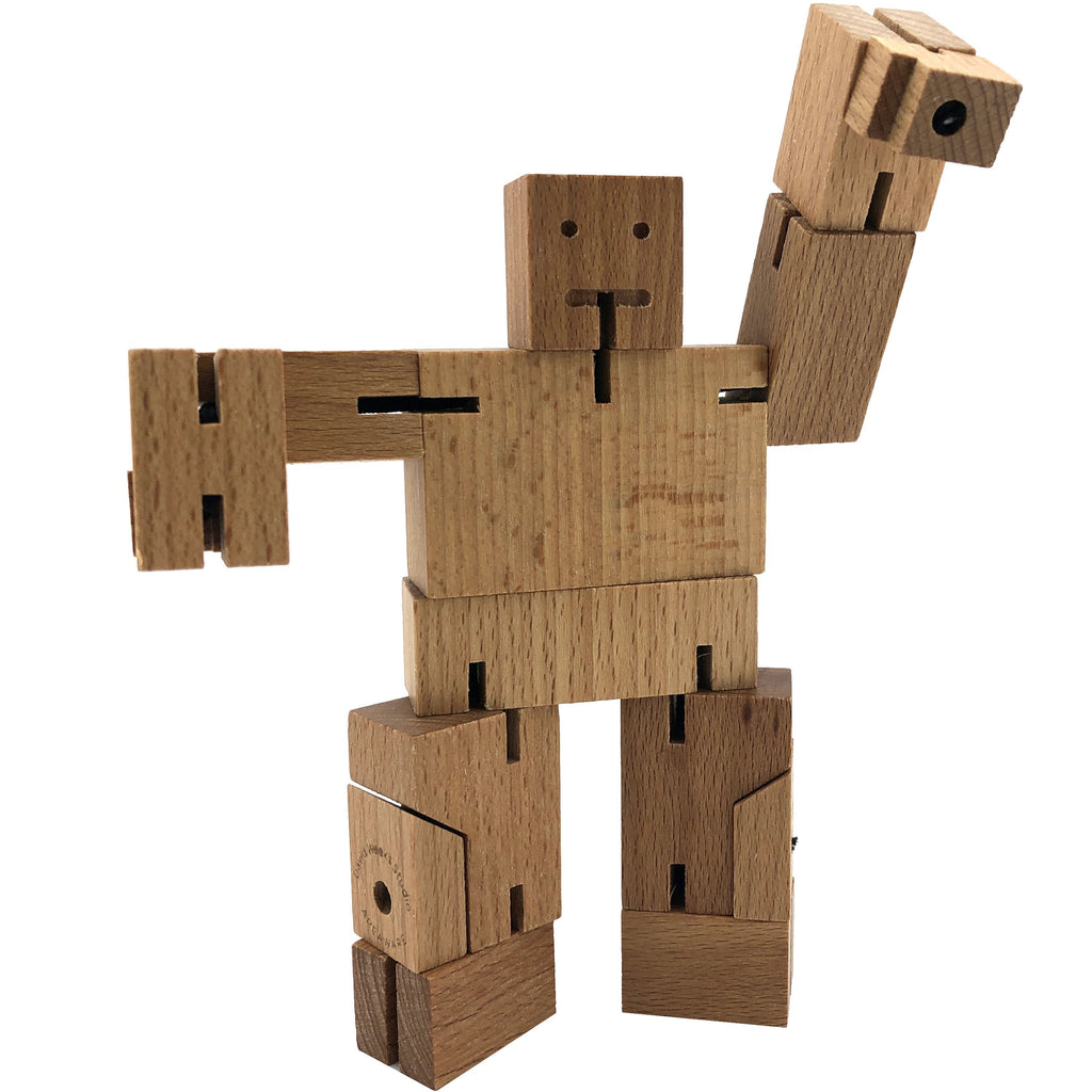 Areaware Micro Cubebot | Wooden Toy Robot | Natural Wood