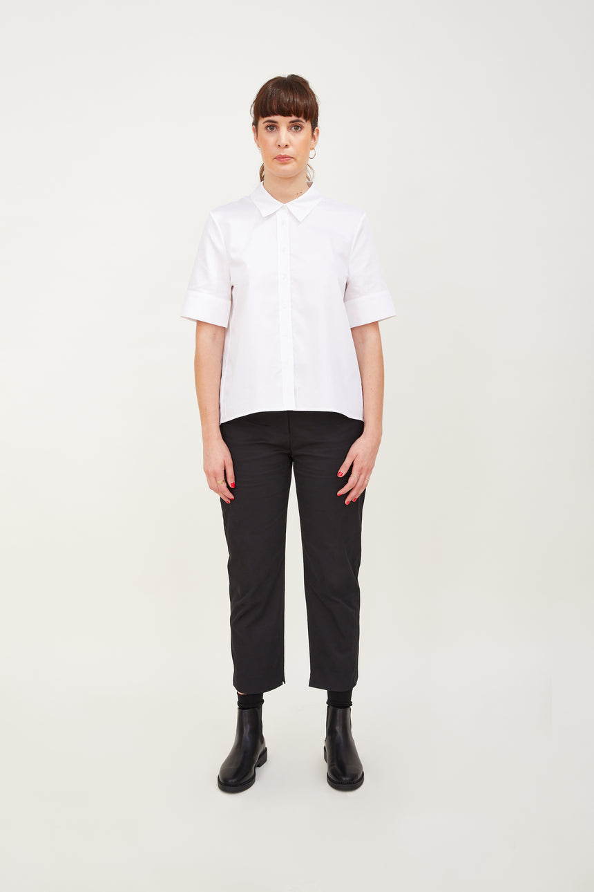 Short Sleeved Double Box Pleat Shirt