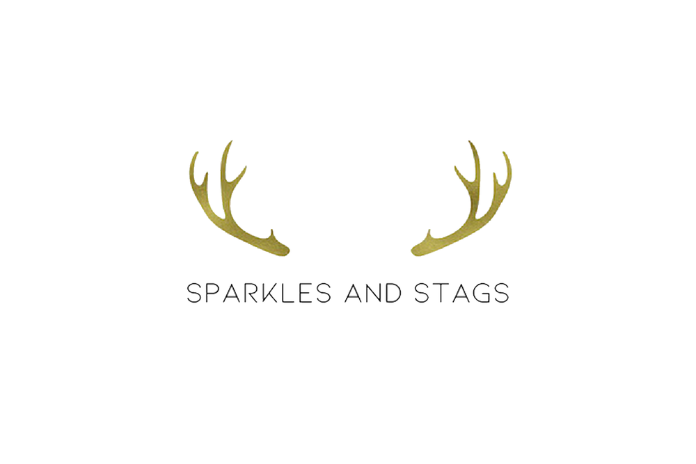 Sparkles and Stags Logo Gold Antlers Black Font