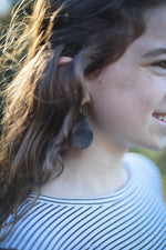 Rocker Chic Black Silver Patina Handmade Leather Earrings