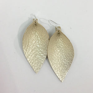 Champagne Leaf Handmade Leather Earrings