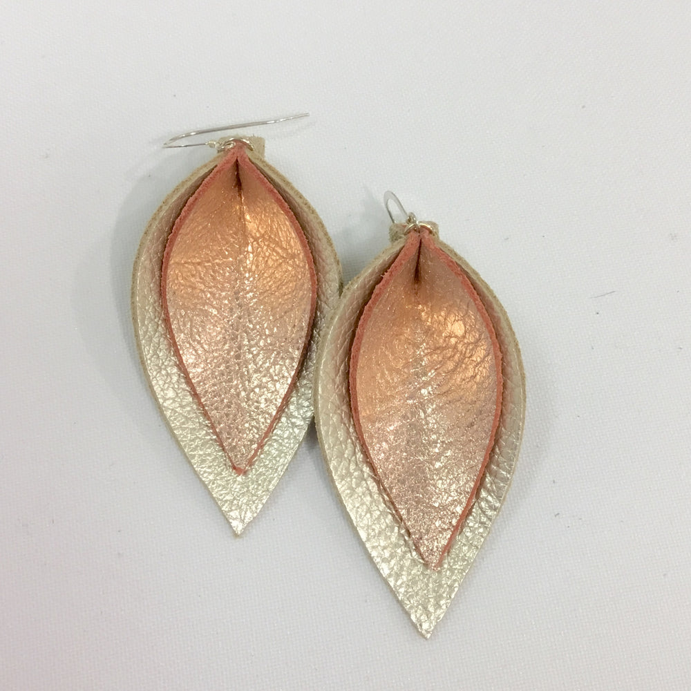 Champagne and Rose Gold Double Leaf