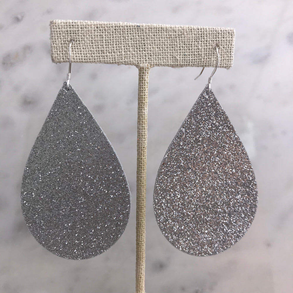 Silver Glitter Sparkly Handmade Leather Earrings