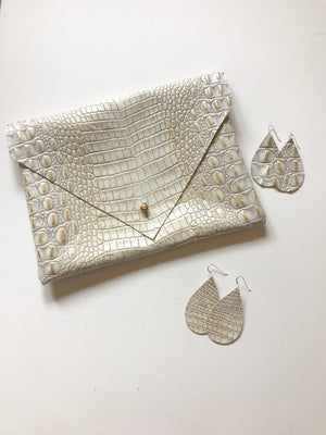 Glam Gator Leather Clutch