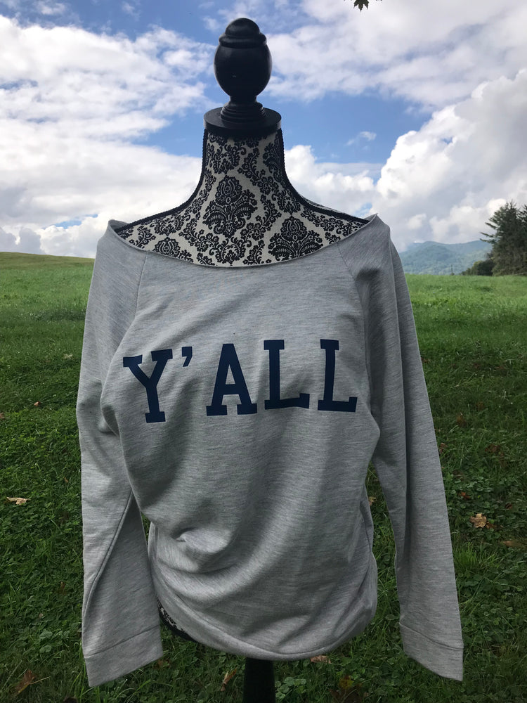 Y'ALL YALL Comfy Cozy Message Sweatshirt Heather Grey and Navy