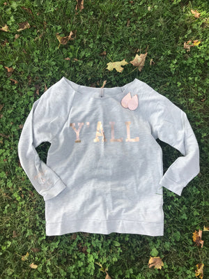 Y'ALL YALL Comfy Cozy Message Sweatshirt Heather Grey and Rose Gold
