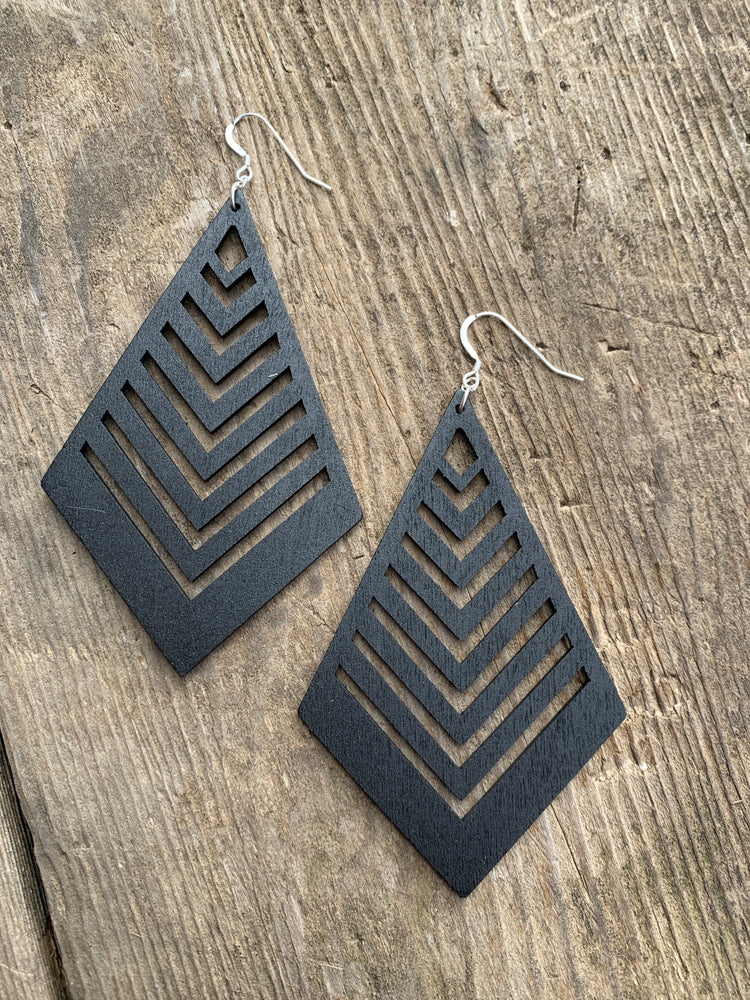 Chevron Shield Wood Earrings