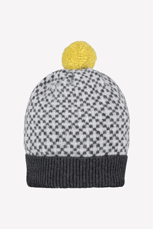 Cross Bobble Hat in Charcoal & Light Grey