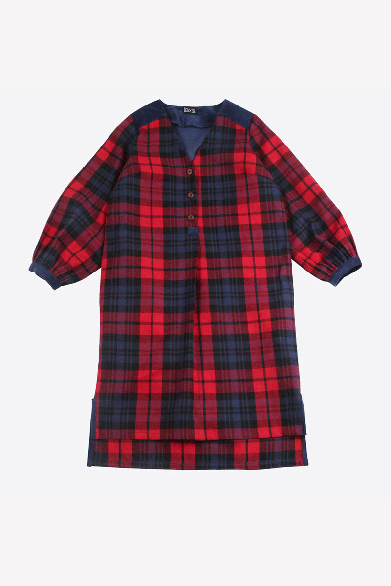 Lowie Brushed Check Tunic Dress