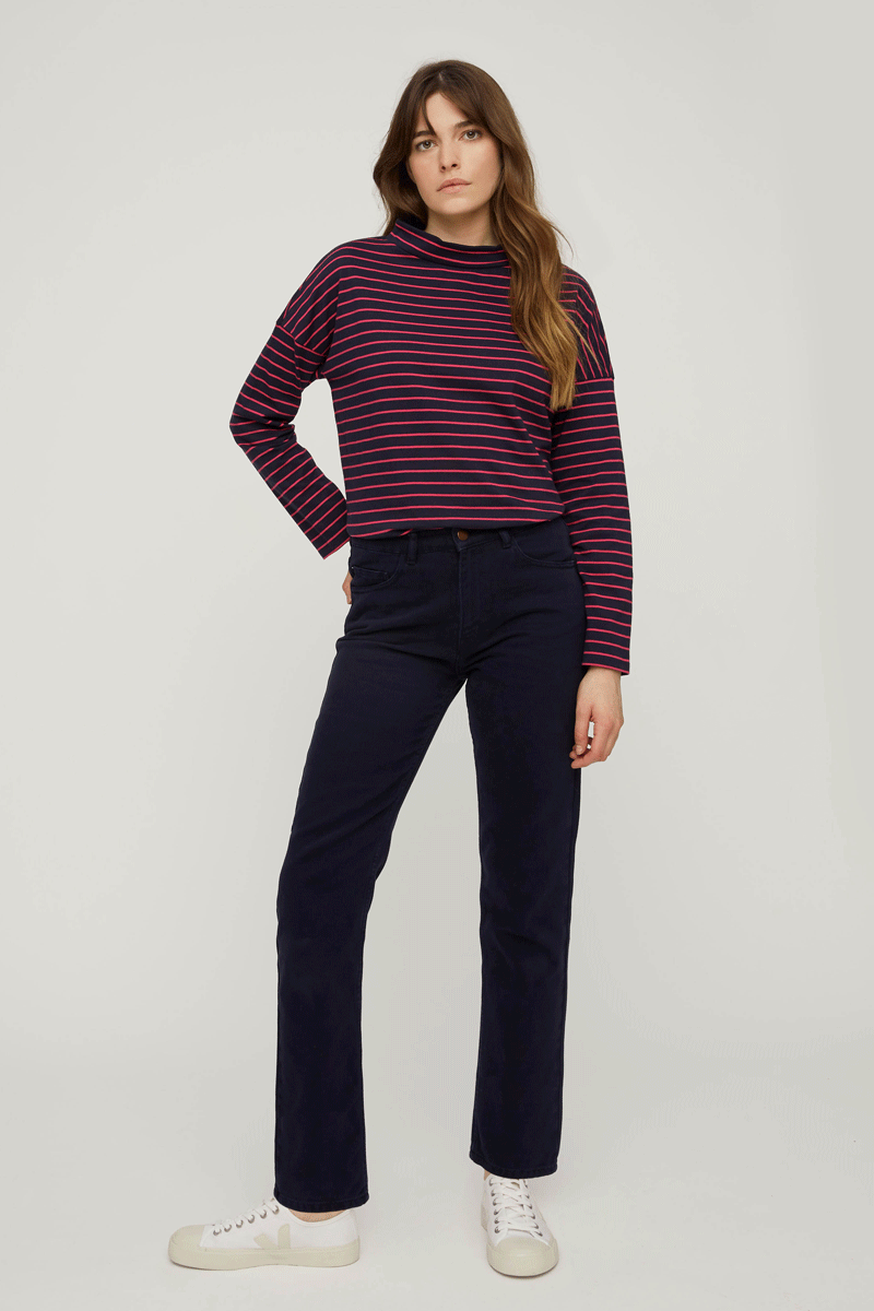 People Tree Irena Twill Trousers in Navy