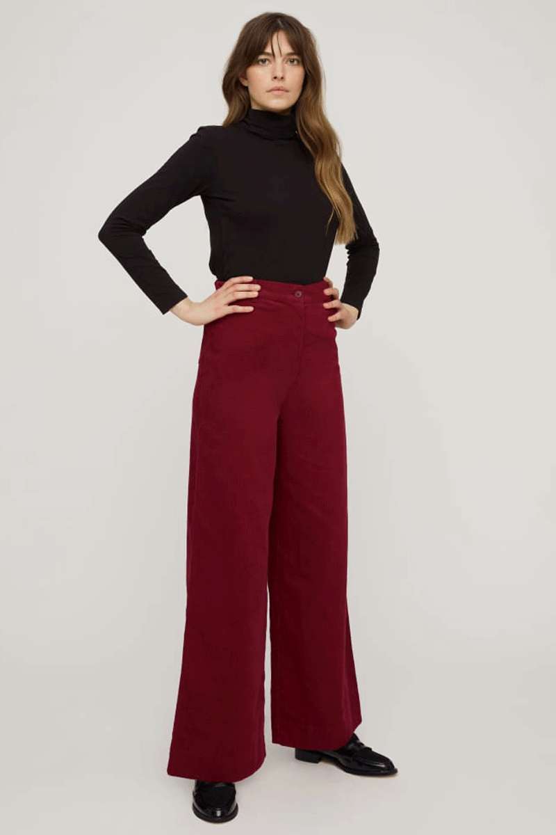 People Tree Noelle Corduroy Wide Leg Trousers in Deep Red