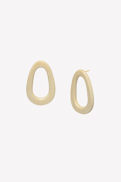 Oval Earring in White Wood
