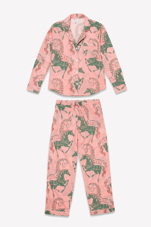 Long Pyjama Set Caballo Horse Print in Pink/Green