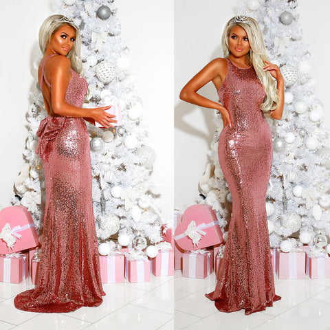 Pink Full Length Sequin Gown