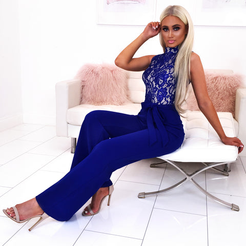 Cobalt Blue Lace Jumpsuit