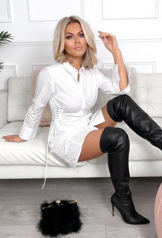 Halley White Lace Up Side Detail Shirt Dress