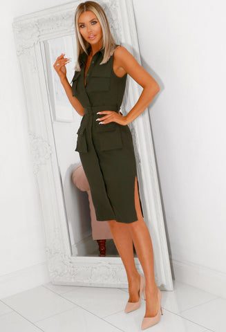 Jordan Khaki Utility Pocket Detail Midi Dress
