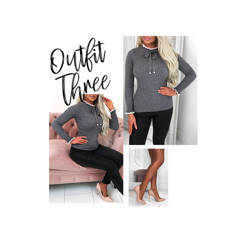 Grey Knit Jumper Outfit Collage