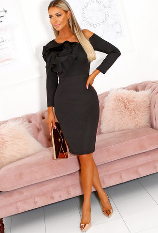 Black Long Sleeve Occasion Dress