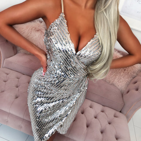 Silver Sequin Plunge Dress