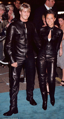 Victoria and David Beckham Leather Outfits