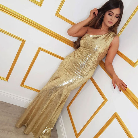 Gold Prom Dress With Bling