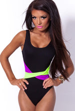 Baha Purple and Black Neon Scoop Back Swimsuit