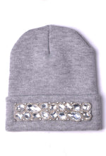 Street Grey Crystal Embellished Beanie Hat