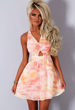 Melanea Peach Floral Floaty Mini Dress