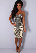 VIP Pravada Nude & Black PU Stripe Midi Dress