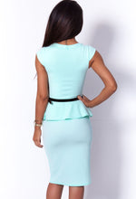 Erin Mint Belted Peplum Pencil Bodycon Midi Dress