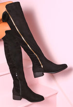 Booty Vibes Black Faux Suede Knee High Boots