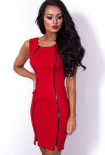 Sandy Red and Black Full Zip Bodycon Mini Dress