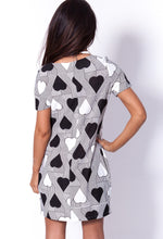 King Black and White Heart Print Tunic Dress