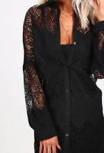 Donya Black Lace Shirt Dress